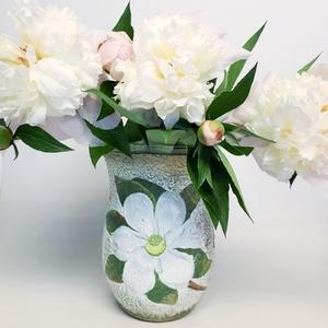 Írisz fehér virágos üveg váza, virágos asztali dekoráció névnapra, szülinapra, karácsonyra, húsvétra, anyák napjára., Dekoráció, Otthon & lakás, Lakberendezés, Kaspó, virágtartó, váza, korsó, cserép, Anyák napja, Ünnepi dekoráció, Decoupage, transzfer és szalvétatechnika, Írisz fehér virágos üveg váza, virágos asztali dekoráció névnapra, szülinapra, karácsonyra, húsvétra..., Meska