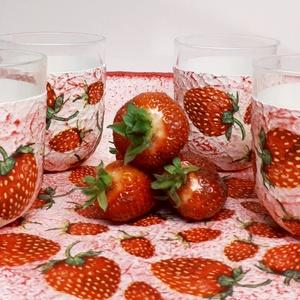 Epres üdítős pohárszett , vizes pohárszett eperimádóknak ajándék ötlet anyák napjára, gyermeknapra (4 db) (Biborvarazs) - Meska.hu