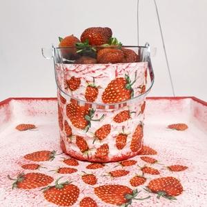 Epres jeges vödör ital hűtő gyümölcs tartó fém füllel és kiszedővel eperimádóknak, Bögre & Csésze, Konyhafelszerelés, Otthon & Lakás, Decoupage, transzfer és szalvétatechnika, Epres jeges vödör ital hűtő gyümölcstartó fém füllel és kiszedővel névnapra  szülinapra, gyermeknapr..., Meska
