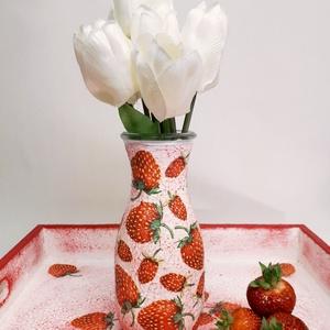 Epres váza, tavaszi asztali dísz, dekoráció névnapra, szülinapra, eperimádónak.  (Biborvarazs) - Meska.hu