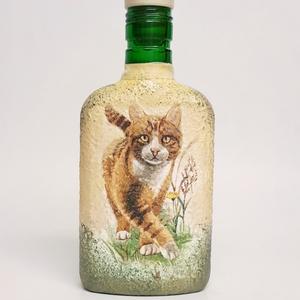 Ami a zakó belső zsebében is elfér: cicás lapos üveg állatbarátoknak, macska kedvelőknek., Lakberendezés, Otthon & lakás, Férfiaknak, Sör, bor, pálinka, Decoupage, transzfer és szalvétatechnika, Ami a zakó belső zsebében is elfér: cicás  lapos üveg állatbarátoknak, macska kedvelőknek.  (200 ml)..., Meska