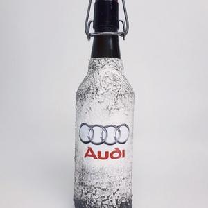 Audi rajongóknak csatos dísz-és használati üveg, 500 ml. , Üveg & Kancsó, Konyhafelszerelés, Otthon & Lakás, Decoupage, transzfer és szalvétatechnika, Audi rajongóknak csatos dísz-és használati üveg, (500 ml)\n\nAudi kedvelőknek kötelező kellék!\n\nA küls..., Meska