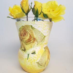 Sárga rózsás váza esküvőre, eljegyzésre, házassági évfordulóra, nászajándékba., Lakberendezés, Otthon & lakás, Kaspó, virágtartó, váza, korsó, cserép, Dekoráció, Dísz, Ünnepi dekoráció, Anyák napja, Decoupage, transzfer és szalvétatechnika, Sárga rózsás váza esküvőre, eljegyzésre, házassági évfordulóra, nászajándékba, nőnapra, szülinapra, ..., Meska