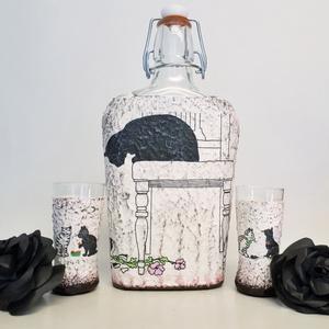 Fekete cicás, csatos lapos üveg röviditalos poharakkal állatbarátoknak, macska kedvelőknek., Pohár, Konyhafelszerelés, Otthon & Lakás, Decoupage, transzfer és szalvétatechnika, Fekete cicás, csatos lapos üveg röviditalos poharakkal állatbarátoknak, macska kedvelőknek. (500)\n\nR..., Meska