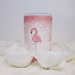 Flamingó üdítős, vizes pohár, ceruzatartó szülinapi, névnapi, valentin napi, mikulás ill. karácsonyi ajándékötlet., Otthon & Lakás, Díszüveg, Dekoráció, Decoupage, transzfer és szalvétatechnika, Meska