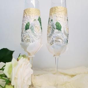 Fehér rózsa pezsgős pohár esküvőre, eljegyzésre, leánybúcsúba, legénybúcsúba, nászajándékba., Esküvő, Esküvői dekoráció, Nászajándék, Decoupage, transzfer és szalvétatechnika, Fehér rózsa pezsgős pohár esküvőre, eljegyzésre, leánybúcsúba, legénybúcsúba, nászajándékba.\n\nA term..., Meska