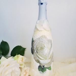 Fehér rózsa BB pezsgő esküvőre, eljegyzésre, leánybúcsúba, legénybúcsúba, nászajándékba., Asztaldísz, Dekoráció, Esküvő, Decoupage, transzfer és szalvétatechnika, Fehér rózsa  BB pezsgő esküvőre, eljegyzésre, leánybúcsúba, legénybúcsúba, nászajándékba, évfordulór..., Meska