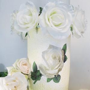 Fehér rózsa padlóváza esküvőre, eljegyzésre leánybúcsúba legénybúcsúba nászajándékba, Helyszíni dekor, Dekoráció, Esküvő, Decoupage, transzfer és szalvétatechnika, Fehér rózsa padlóváza esküvőre, eljegyzésre, leánybúcsúba, legénybúcsúba, nászajándékba, szülinapra,..., Meska