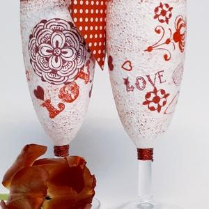 Piros szív mandala pezsgős pohár párban pöttyes szív ajándékkísérővel ajándék valentin napra, nőnapra, anyák napjára. , Otthon & Lakás, Pohár, Konyhafelszerelés, Piros szív mandala pezsgős pohár párban pöttyes szív ajándékkísérővel ajándék valentin napra, nőnapr..., Meska