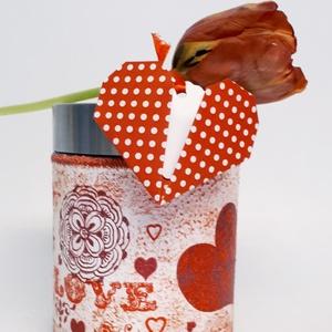Piros szív mandala fűszertartó, konyhai tároló fém tetővel szív ajándékkísérővel valentin napra nőnapra, anyák napjára., Otthon & Lakás, Fűszertartó, Konyhafelszerelés, Piros szív mandala fűszertartó, konyhai tároló fém tetővel pöttyes szív ajándékkísérővel valentin na..., Meska