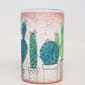Virágos kaktusz üditős pohár üveg vizespohár  ajándék gyermeknapra, szülinapra, névnapra, mikulásra, valentin napra., Gyerek & játék, Konyhafelszerelés, Otthon & lakás, Bögre, csésze, Decoupage, transzfer és szalvétatechnika, Virágos kaktusz üdítős pohár, üveg vizespohár ajándék gyermeknapra, szülinapra, névnapra, mikulásra,..., Meska
