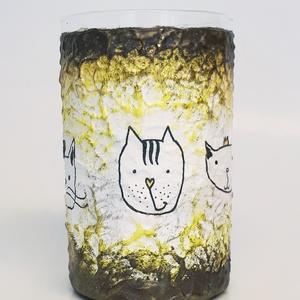 Fekete macska üdítős vizes pohár szülinapi, névnapi, mikulás ill karácsonyi ajándékötlet cica imádóknak.  (Biborvarazs) - Meska.hu
