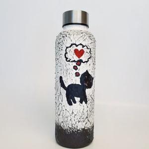 Fekete macska, cicás kulacs, műanyag flaska ajándék gyermeknapra, szülinapra, névnapra, mikulásra, karácsonyra., Otthon & Lakás, Dekoráció, Díszüveg, Festészet, Fekete macska, cicás kulacs, műanyag flaska ajándék gyermeknapra, szülinapra, névnapra, mikulásra, k..., Meska
