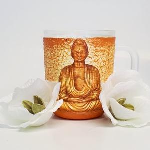 Arany Buddha üveg üdítős, vizes füles pohár spirituális ajándék  , Egyéb, Vallási tárgyak, Konyhafelszerelés, Otthon & lakás, Bögre, csésze, Decoupage, transzfer és szalvétatechnika, Arany Buddha üveg üdítős, vizes füles pohár spirituális ajándék. \n\nAnyaga: üveg\nMérete: 2-3 dl\n\nKaph..., Meska
