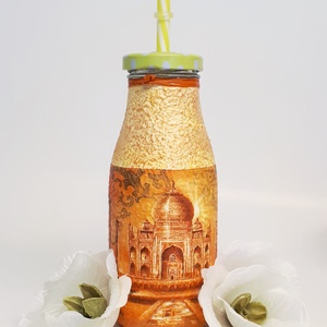 Taj Mahal  üveg üdítős, vizes szívószálas pohár spirituális ajándék  , Üveg & Kancsó, Konyhafelszerelés, Otthon & Lakás, Decoupage, transzfer és szalvétatechnika, Taj Mahal üveg üdítős, vizes szívószálas pohár spirituális ajándék. \n\nAnyaga: üveg\nMérete: 2 dl\n\nKap..., Meska