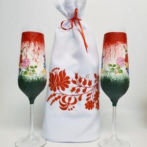 Kalocsai piros-fehér-zöld mintás, magyaros dísz-és használati pezsgős pohár nászajándékba, évfordulóra