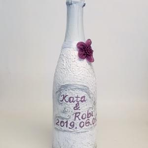 Kézzel festett neves pezsgő nászajándék, eljegyzésre, évfordulóra. , Nászajándék, Emlék & Ajándék, Esküvő, Festett tárgyak, Kézzel festett neves pezsgő nászajándék, eljegyzésre, évfordulóra, szülinapra, névnapra, legénybúcsú..., Meska