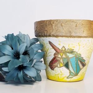 Unikornis kézzel festett egyedi kaspó, virágtartó bármilyen alkalomra virág mellé: szüinapra, névnapra, gyermeknapra., Cserép & Kaspó, Ház & Kert, Otthon & Lakás, Festett tárgyak, Unikornis kézzel festett egyedi kaspó, virágtartó bármilyen alkalomra virág mellé: szülinapra, névna..., Meska