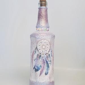 Álomfogó dísz- és használati italos üveg, pasztel színek kedvelőknek. (500 ml) , Otthon & lakás, Lakberendezés, Férfiaknak, Sör, bor, pálinka, Decoupage, transzfer és szalvétatechnika, Álomfogó dísz- és használati italos üveg, pasztel színek kedvelőknek. (500 ml) \n\nAz üveg különlegess..., Meska