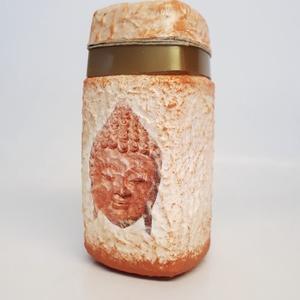 Buddha konyhai tároló újrahasznosított alapanyagból, egyedi ajándék ötlet Buddha kedvelőknek korall-arany-bézs színekben, Egyéb, Vallási tárgyak, Otthon & lakás, Konyhafelszerelés, Decoupage, transzfer és szalvétatechnika, Buddha konyhai tároló újrahasznosított alapanyagból, egyedi ajándék ötlet Buddha kedvelőknek korall-..., Meska
