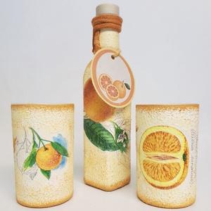 Narancs juice üveg üdítős poharakkal (0.5 l + 2x3 dl), Konyhafelszerelés, Otthon & lakás, Bögre, csésze, Kancsó , Decoupage, transzfer és szalvétatechnika, Naracs juice üveg üdítős poharakkal. (0.5 l + 2x3 dl)\n\nÜdítő színfoltja a konyhánknak ez a szett a n..., Meska