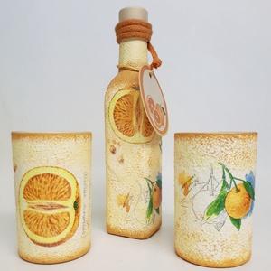 Narancs juice üveg üdítős poharakkal (0.5 l + 2x3 dl) (Biborvarazs) - Meska.hu