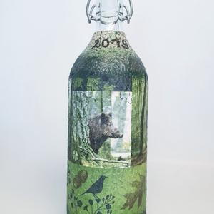 Vaddisznós italos pálinkás dísz- és használati üveg vadászoknak egyedi ajándék névnapra, szülinapra, karácsonyra, Otthon & Lakás, Díszüveg, Dekoráció, Vaddisznós italos pálinkás dísz- és használati üveg vadászoknak egyedi ajándék névnapra, szülinapra,..., Meska