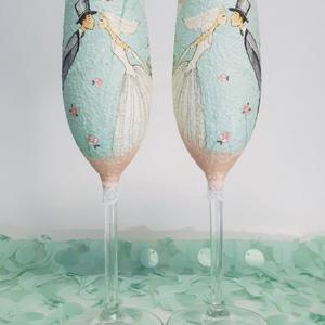Vintage menyasszony és vőlegény pezsgős pohár esküvőre, eljegyzésre, leánybúcsúba, legénybúcsúba, nászajándékba., Esküvő, Esküvői dekoráció, Nászajándék, Decoupage, transzfer és szalvétatechnika, Vintage menyasszony és vőlegény pezsgős pohár esküvőre, eljegyzésre, leánybúcsúba, legénybúcsúba, ná..., Meska