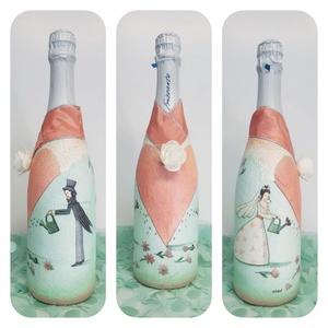 Vintage menyasszony és vőlegény BB pezsgő esküvőre, eljegyzésre, leánybúcsúba, legénybúcsúba, nászajándékba., Esküvő, Esküvői dekoráció, Nászajándék, Otthon & lakás, Decoupage, transzfer és szalvétatechnika, Vintage menyasszony és vőlegény pezsgő esküvőre, eljegyzésre, leánybúcsúba, legénybúcsúba, nászajánd..., Meska