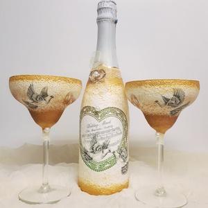 Arany galamb pezsgő Margerita pezsgős pohár esküvőre eljegyzésre, leánybúcsúba, legénybúcsúba, nászajándékba., Tálalás, Dekoráció, Esküvő, Decoupage, transzfer és szalvétatechnika, Arany galamb pezsgő és Margerita pezsgős pohár esküvőre, eljegyzésre, leánybúcsúba, legénybúcsúba, n..., Meska