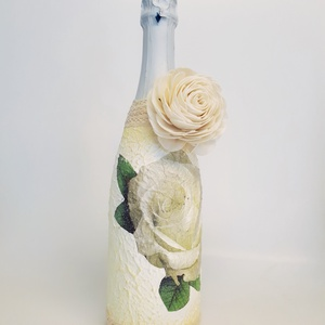 Fehér rózsa BB pezsgő esküvőre, eljegyzésre, leánybúcsúba, legénybúcsúba, nászajándékba., Nászajándék, Emlék & Ajándék, Esküvő, Decoupage, transzfer és szalvétatechnika, Fehér rózsa  BB pezsgő esküvőre, eljegyzésre, leánybúcsúba, legénybúcsúba, nászajándékba, évfordulór..., Meska