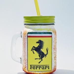 Ferrari dísz- és használati bögre, szívószálas üveg és korsó 3 az 1-ben autó rajongói ajándék., Férfiaknak, Otthon & lakás, Konyhafelszerelés, Bögre, csésze, Decoupage, transzfer és szalvétatechnika, Ferrari dísz- és használati bögre, szívószálas üveg és korsó 3 az 1-ben autó rajongói ajándék.\n\nŰrta..., Meska