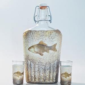 Lehet 3 kívánságod, arany halas csatos italos üveg, pálinkás üveg + röviditalos pohár, hal, horgászat kedvelőknek. , Otthon & lakás, Férfiaknak, Sör, bor, pálinka, Horgászat, vadászat, Decoupage, transzfer és szalvétatechnika, Lehet három kívánságod, aranyhalas dísz-és használati italos csatos üveg, pálinkás üveg röviditalos ..., Meska