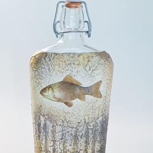 Lehet 3 kívánságod, arany halas dísz-és használati csatos üveg, pálinkás üveg, boros üveg, hal, horgászat kedvelőknek. , Otthon & Lakás, Dekoráció, Díszüveg, Lehet három kívánságod, aranyhalas dísz-és használati csatos italos üveg, pálinkás üveg boros üveg, ..., Meska