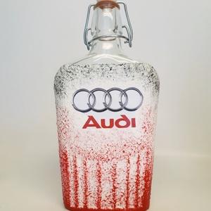 AUDI csatos üveg gravírozható AUDI rajongói ajándék italos üveg, pálinkás üveg szülinapra, névnapra, karácsonyra, Otthon & Lakás, Dekoráció, Díszüveg, AUDI csatos üveg gravírozható AUDI rajongói ajándék italos üveg, pálinkás üveg szülinapra, névnapra,..., Meska