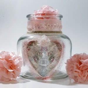 La vita é bella - szív rózsakvarcos csipkés sötétben világitó rózsaszín pillangós tároló  üveg szobadekor névnapra, Lakberendezés, Otthon & lakás, Dekoráció, Dísz, Ünnepi dekoráció, Anyák napja, Decoupage, transzfer és szalvétatechnika, La vita é bella - Szív rózsakvarcos csipkés sötétben világitó rózsaszín pillangós tároló üveg szobad..., Meska