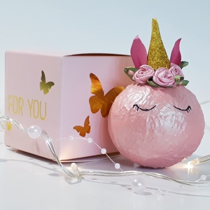 Pink unikornis üveggömb, karácsonyfadísz, karácsonyi dekoráció díszdobozban., Karácsony & Mikulás, Karácsonyfadísz, Pink unikornis üveggömb, karácsonyfadísz, karácsonyi dekoráció díszdobozban. A gömb átmérője: 6-8 cm..., Meska