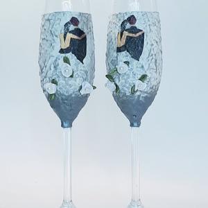 Mr. and Mrs. menyasszony és vőlegény ezüst dekor pezsgős pohárszett esküvőre, eljegyzésre, évfordulóra, nászajándék. , Esküvő, Tálalás, Dekoráció, Decoupage, transzfer és szalvétatechnika, Meska