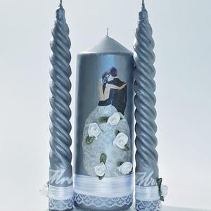 Mr. and Mrs. menyasszony és vőlegény ezüst dekor gyertyagyújtás szett esküvőre, eljegyzésre, évfordulóra , Gyertya & Gyertyatartó, Dekoráció, Esküvő, Decoupage, transzfer és szalvétatechnika, Mr. and Mrs. menyasszony és vőlegény ezüst dekor gyertyagyújtás szett esküvőre, eljegyzésre, évfordu..., Meska