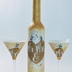 Mr. and Mrs. szerelmes madárkák menyasszony és vőlegény  arany dísz- és használati üveg koktélos pohárral esküvőre., Esküvő, Nászajándék, Esküvői dekoráció, Otthon & lakás, Konyhafelszerelés, Decoupage, transzfer és szalvétatechnika, Mr. and Mrs. szerelmes madárkák menyasszony és vőlegény arany dekor dísz- és használati üveg koktélo..., Meska