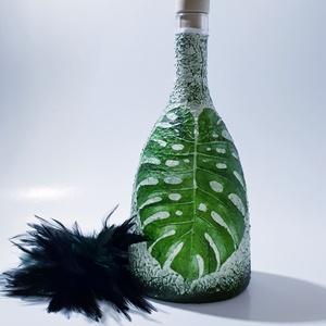 Pálmafa, pálmalevél dísz- és használati italosüveg, szörpös üveg, üdítős üveg, ajándék pálmafa kedvelőknek. (750 ml), Otthon & Lakás, Díszüveg, Dekoráció, Pálmafa, pálmalevél dísz- és használati italosüveg, szörpös üveg, üdítős üveg, ajándék pálmafa kedve..., Meska