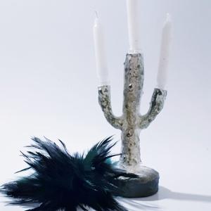 Kaktusz 3 ágú üveg gyertyatartó fehér gyertyával, ajándék kaktusz kedvelőknek., Gyertya & Gyertyatartó, Dekoráció, Otthon & Lakás, Festett tárgyak, Kaktusz 3 ágú üveg gyertyatartó fehér gyertyával, ajándék kaktusz kedvelőknek. (Rendelhető hozzá dís..., Meska