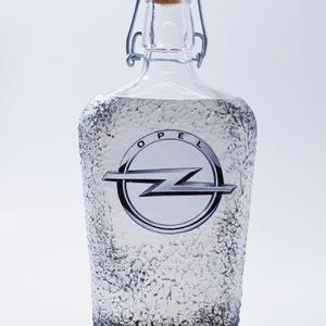 OPEL italos üveg gravírozható rajongói ajándék pálinkás üveg szülinapra, névnapra, karácsonyra, húsvétra.  (500 ml), Otthon & Lakás, Dekoráció, Díszüveg, Decoupage, transzfer és szalvétatechnika, Meska