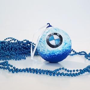 Bmw sötétben fluoreszkáló karácsonyi gömb, karácsonyfa dísz autó rajongói ajándék, karácsonyi ajándék., Karácsony & Mikulás, Karácsonyfadísz, Decoupage, transzfer és szalvétatechnika, Bmw sötétben fluoreszkáló karácsonyi gömb, karácsonyfa dísz autó rajongói ajándék, karácsonyi ajándé..., Meska