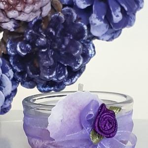 Nálunk az ősz (tavasz) lilában kopogtat lila mini üveg festett teamécses lila asztali dekoráció ajándék lila kedvelőknek, Gyertya & Gyertyatartó, Dekoráció, Otthon & Lakás, Decoupage, transzfer és szalvétatechnika, Nálunk az ősz (tavasz) lilában kopogtat, lila mini üveg festett teamécses, lila asztali dekoráció aj..., Meska