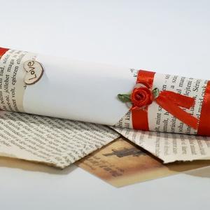 Vintage papír ajándékkísérő, meghívó, esküvőre, eljegyzésre, évfordulóra, nászajándékba, karácsonyra, bor csomagoláshoz, Esküvő, Férfiaknak, Vőlegényes, Meghívó, ültetőkártya, köszönőajándék, Nászajándék, Papírművészet, Vintage papír ajándékkísérő, meghívó esküvőre, eljegyzésre, évfordulóra, nászajándékba, karácsonyra,..., Meska