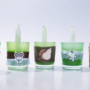 Zöld teamécses, üveg gyertyatartó természetközeli színekben 5 féle., Gyertya & Gyertyatartó, Dekoráció, Otthon & Lakás, Mindenmás, Zöld teamécses, üveg gyertyatartó mécses természetközeli színekben 5 féle. \n\nA gyertyatartók az újra..., Meska