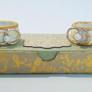 Vintage arany karikagyűrűs, gyönygös szalvétagyűrű szett esküvőre eljegyzésre leánybúcsúba, legénybúcsúba, nászajándékba, Esküvő, Nászajándék, Emlék & Ajándék, Vintage arany karikagyűrűs, gyöngyös szalvétagyűrű szett esküvőre, eljegyzésre, leánybúcsúba, legény..., Meska