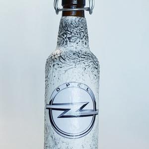 Opel csatos dísz- és használati italos üveg autó rajongói ajándék szülinapra, névnapra, karácsonyra, húsvétra.  (500 ml), Otthon & lakás, Konyhafelszerelés, Férfiaknak, Sör, bor, pálinka, Decoupage, transzfer és szalvétatechnika, Opel csatos dísz- és használati italos üveg autó rajongói ajándék szülinapra, névnapra, karácsonyra,..., Meska