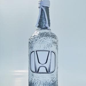 Honda díszüveg pálinkának, bornak, italos üveg szülinapra, névnapra, karácsonyra autó rajongóknak, Díszüveg, Dekoráció, Otthon & Lakás, Decoupage, transzfer és szalvétatechnika, Honda díszüveg pálinkának, bornak, italos üveg szülinapra, névnapra, karácsonyra autó rajongóknak. (..., Meska